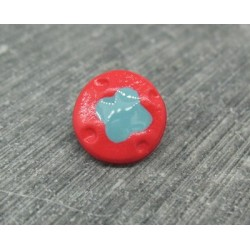 Bouton fleur 4 points rouge turquoise 12mm