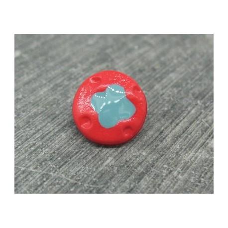 Bouton fleur 4 points rouge turquoise 12mm