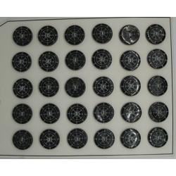 Plaque N°54  30 boutons nacre rivière gouvernail noir 18mm