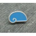Bouton escargot stylé bleu azur gris 18mm