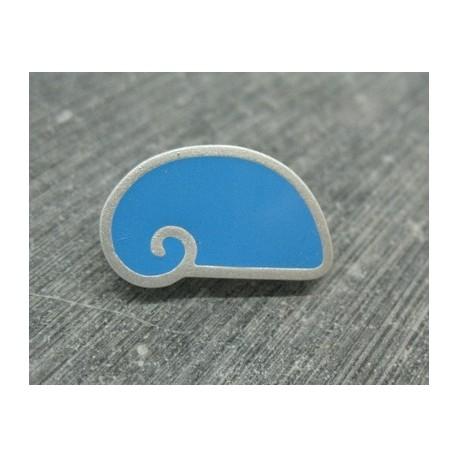 Bouton escargot stylé bleu azur gris 25mm