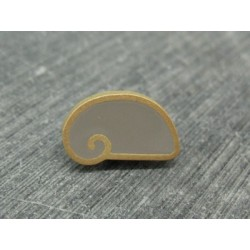 Bouton escargot stylé gris or 18mm