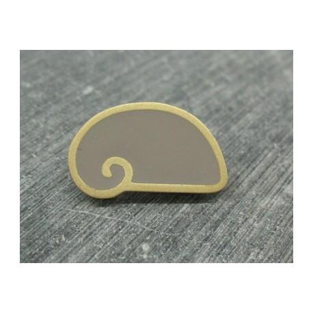 Bouton escargot stylé gris or 25mm