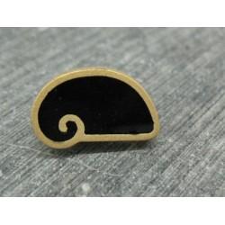 Bouton escargot stylé noir or 18mm