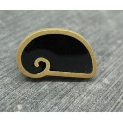 Bouton escargot stylé noir or 22mm