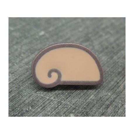 Bouton escargot stylé rose gris 22mm