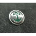 Bouton ancre métal argent vert 18mm