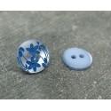 Bouton 2 fleurs lavande bleu 13mm