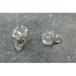 Bouton cube résine biseautée 6mm