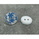 Bouton 2 fleurs blanc nacré bleu 13mm