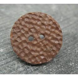 Bouton martelé chocolat 21mm
