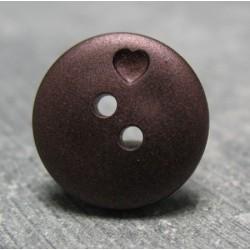 Bouton coeur prune 15  mm b71