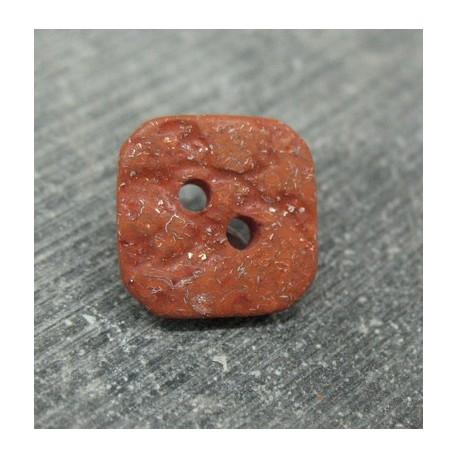 Bouton pavé pailleté oranger 15mm