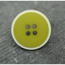 Bouton bicolore anis-blanc 22mm