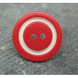 Bouton bicolore rouge blanc 22mm