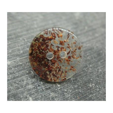 Bouton translucide paillette marron 18mm