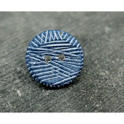 Bouton strié bleu blanc 18mm