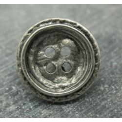 Bouton métallisé cercle martelé vieil argent 18mm