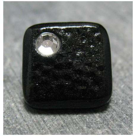 Bouton carré strass noir 13 mm b71