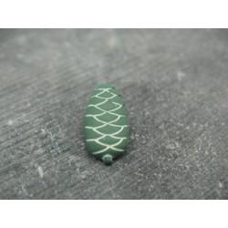 Bouton pomme de pin vert blanc 18mm