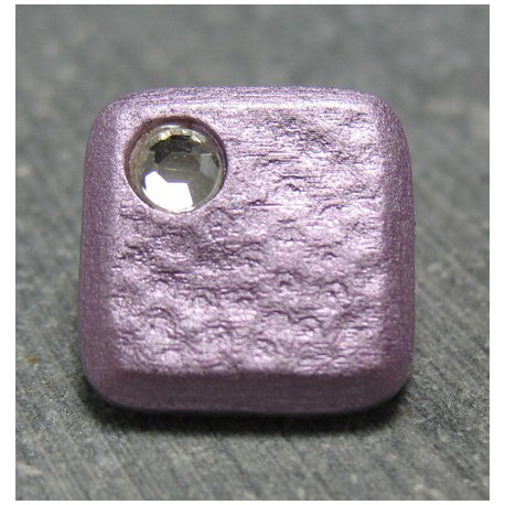 Bouton carré strass violine 13 mm b71