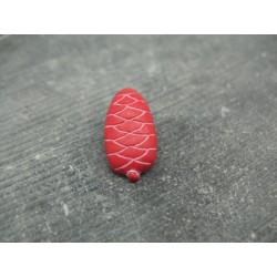 Bouton pomme de pin rouge blanc 22mm