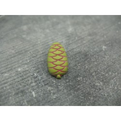 Bouton pomme de pin vert olive fuschia 18mm