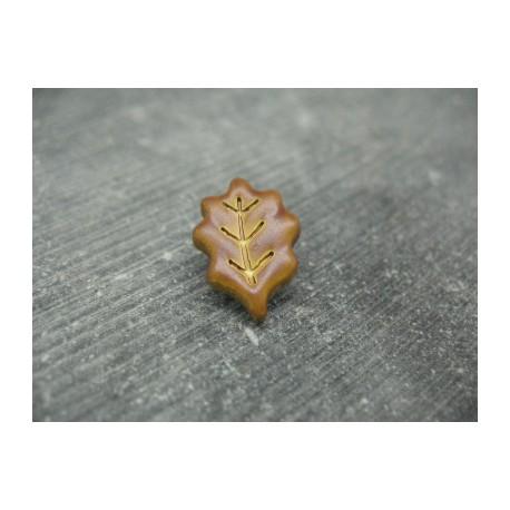 Bouton feuille de chêne caramel 18/22mm