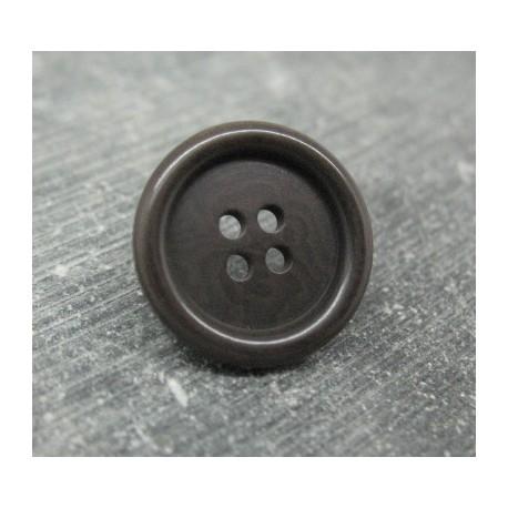 Bouton corozo noir reflet ébène 20mm