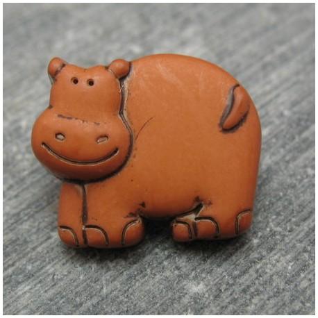 Bouton hippopotame ocre 17 mm b23