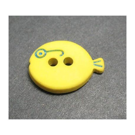 Bouton poisson jaune 15mm