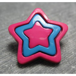 Bouton étoile rose bleu rose 23 mm b35