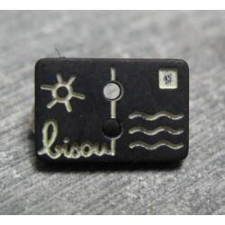 Bouton carte postale bisou noir écru 13mm