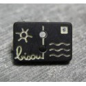 Bouton carte postale bisou noir écru 13 mm b14