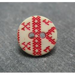 Bouton apache écru rouge b57