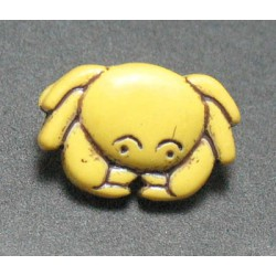 Bouton crabe jaune noir 15mm