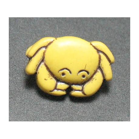 Bouton crabe jaune noir b18