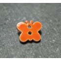 Bouton papillon orange 15mm
