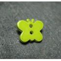 Bouton papillon vert anis 15 mm b8