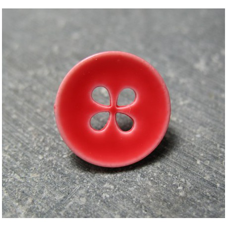 Bouton rouge 4t trèfle 15 mm b55