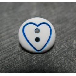 Bouton coeur bleu base blanche 15 mm b70