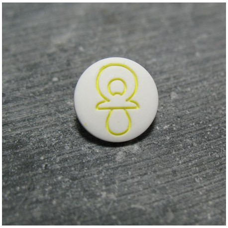 Bouton tétine blanc jaune 12 mm b6