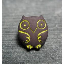 Bouton chouette violet jaune 15 mm b46