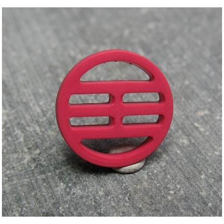 Bouton plaque fuschia 15 mm b72