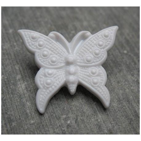Bouton papillon gris 25 mm b72