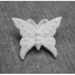 Bouton papillon blanc cassé  25 mm b72