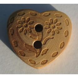 Bouton Coeur gravé fleur 18 mm